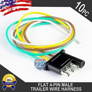 10x 16 Male Trailer End Light Wiring Harness 18 Awg Gpt Copper Wire 4 Way Flat