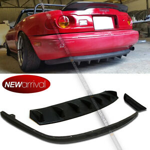 Fit 90 97 Miata Unpainted Pu Oe Style Rear Bumper Lip Rear Diffuser Combo