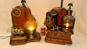 1716mm Vtg Pair 2 Mid Century Nautical Wood 30 Table Lamps Captain First Mate