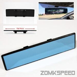 300mm Jdm Panoramic Wide Angle Flat Reflect Rear View Mirror Blue Tinted Lens