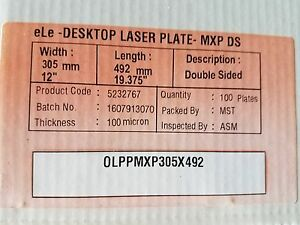 Polyester Laser Plates 2 sided 12 X 19 3 8 100 Plates Xante Hp 5000 5100