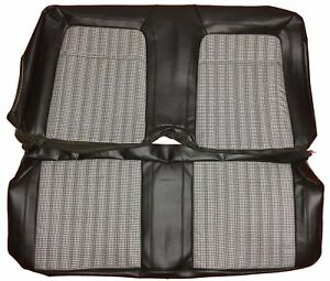 1969 Camaro Seat Covers Deluxe Rear Houndstooth Cloth Black Upholstery Skins