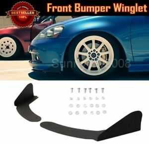 Abs Universal Front Bumper Lip Splitters Black Winglet Blade Spoiler For Chevy