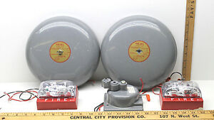 2 Edwards Fire Alarm Bells 439d 10aw Heavy Duty simplex Hearing Impaired Signals