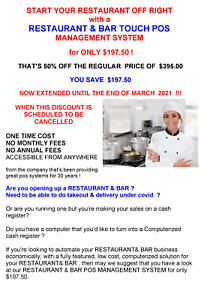 Restaurant Bar Pos System For Only 197 50 50 Off Regular Price Of 395 00