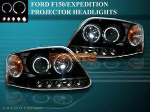 1997 2002 Ford Expedition 97 03 F150 Projector Headlights Two Halo Black Led