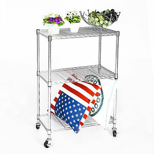 3 Tier Heavy Duty Chrome Wire Shelving Rack Cart Unit W casters Shelf Wheels