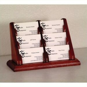 Wooden Mallet 6 Pocket Business Card Holder In Mahogany Holders