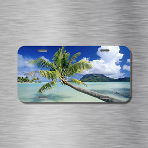 Beach Vehicle License Plate Front Auto Tag Plate Palm Tree Ocean Sea Tropical
