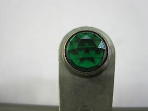 Working Vintage Rat Hot Rod Dash Indicator Light Lamp Green Glass Faceted Lens