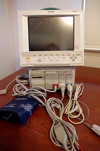 Hp Viridia V24c Philips Patient Monitor nbp Spo2 Ecg Print With Wall Mount