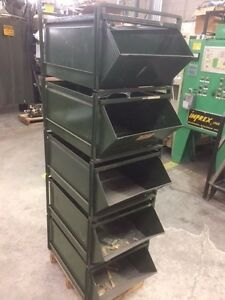 Stackable Bin 5 Shelves And Holder Heavy Duty All Metal 25 l X 18 w X 12 h
