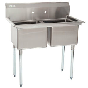 41 2 Compartment Stainless Steel Commercial Sink Without Drainboards Nsf