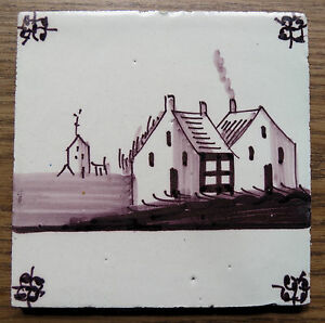 Antique Purple Dutch Delft Tile With Houses