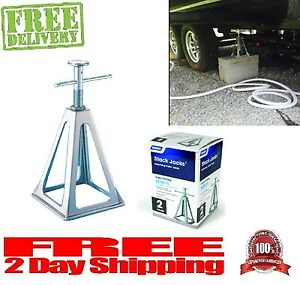 Super Strong 2 Pack Camco Olympian Level Rv Aluminum Stack Jack Stands 6000 Lbs