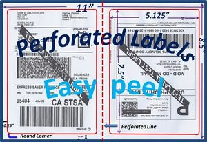 1200 Perforated Round Corner Shipping Labels 2 Per Sheet 8 5 X 11 self Adhesive