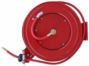 50 Retractable Industrial Grade Rubber 3 8 Air Hose Reel Auto Rewind 300 Psi