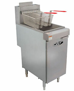 Commercial 40lb 3 Tube Floor Gas Deep Fryer 90 000btu hr Nat Gas Jet Jff3 40n