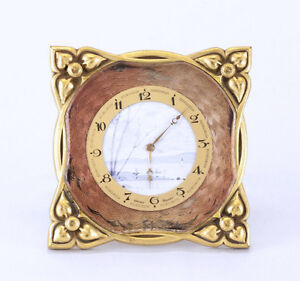 Beautiful Early Art Deco Swiss 8 Day Hand Painted Dial Enamel Brass Desk Clock