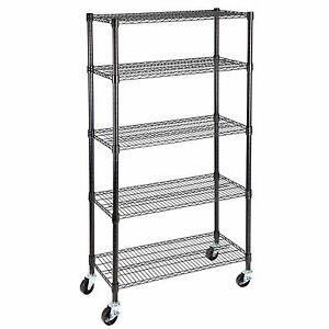 Adjustable 5 Tier 60 x30 x14 Layer Wire Shelving Rack Heavy Duty Steel Shelf