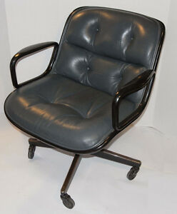 Vintage Knoll Pollock Executive Gray Leather Chair Arms Casters Black Back