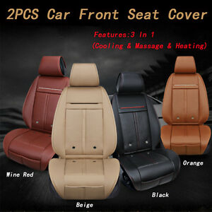 3 In 1 Leather 2x Car Front Seats Cover Cushions Cooling Fan Warm Heated Massage
