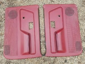 1989 1992 Ford Bronco Ii Ford Ranger Pair Door Panels Oem Red Manual Rare