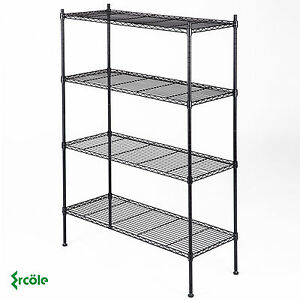 Adjustable 4 Tier Layer Wire Shelving Rack Heavy Duty Steel Shelf 55 x36 x14