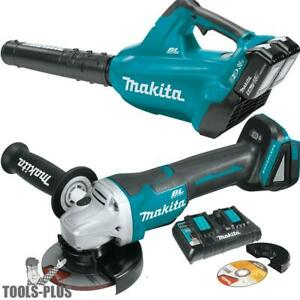 Makita Xbu02ptx1 18v X2 Lxt Li ion Brushless Cordless Blower Angle Grinder New