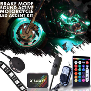 12x X light Motorcycle Deluxe Led Light Strip Kit 18 Color Neon Accent Glow Body