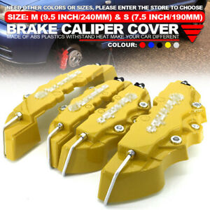 4pcs Yellow 3d Style Brake Caliper Covers Universal Car Disc Front Rear Kit Wl02