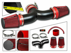 Short Ram Air Intake Kit Matt Black Red For 01 04 Corvette C5 5 7 V8 Dual Twin