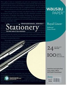 Royal Linen Ivory Stationery Resume Paper 8 5 X 11 24 100 Sheet Package Wausau