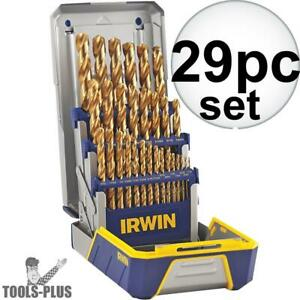 29 Piece Titanium Metal Drill Bit Set Irwin 3018003 New