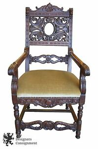 Antique 19th Cent Baroque Gothic Revival Oak Carved Throne Chair Arms Lion Head
