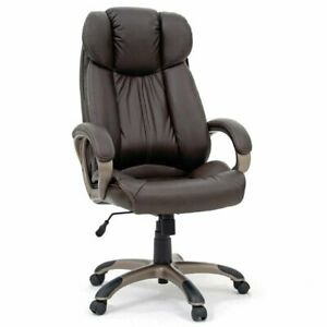 Sauder Gruga Leather Executive Swivel Chair In Brown