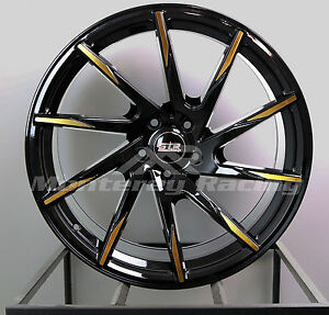 20x9 5x120 Str 621 Black W Gold Spoke Bmw Camaro Pontiac Low Offset