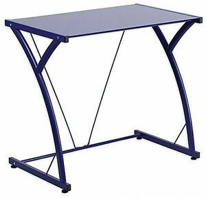 Glass Computer Desk Table Clear Top Office Furniture Contemporary Tempered Blue
