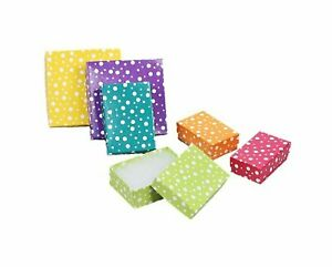25 Boxes Of Multi Color Polka Dot Jewelry Gift Packaging Cotton Filled Boxes
