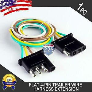 1ft Trailer Light Wiring Harness Extension 4 Pin Plug 18 Awg Flat Wire Connector