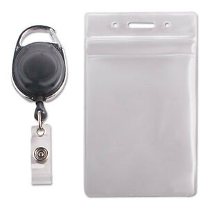 Resealable Id Badge Holder Cord Reel Vertical 2 5 8 X 3 3 4 Clear 10 pack