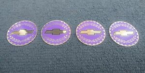 Chevy Bowtie Wire Wheel Knock Off Gold Lilac Spinner Chip Insert Set Size 2 38