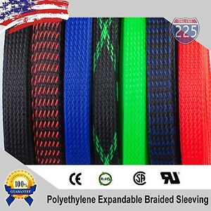 All Sizes Colors 5 Ft 100 Feet Expandable Cable Sleeving Braided Tubing Lot