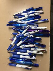 50 Wholesale Lot Misprint Ink Pens 3 Color clicker Type Pens Red Black Blue