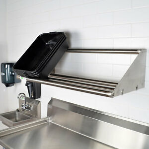 New Regency 42 Wall Mount Stainless Steel Glass Dish Rack Shelf Commercial