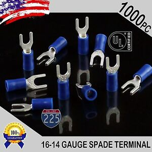 1000 Pack 16 14 Gauge Vinyl Spade Fork Crimp Terminals 8 Stud Tin Copper Core