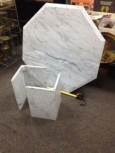 Vintage Marble Base Table W 40 H 18 Hexagonal Marble Top Italy 1970 S Nice
