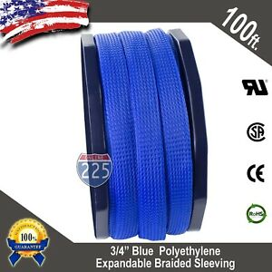 100 Ft 3 4 Blue Expandable Wire Cable Sleeving Sheathing Braided Loom Tubing Us