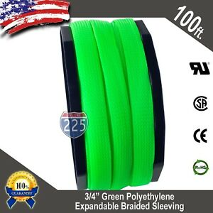 100 Ft 3 4 Green Expandable Wire Cable Sleeving Sheathing Braided Loom Tubing
