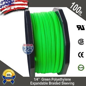 100 Ft 1 4 Green Expandable Wire Cable Sleeving Sheathing Braided Loom Tubing